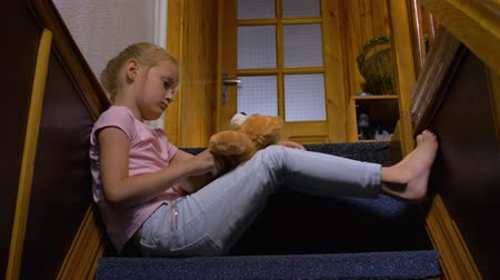 resentment : Sad Little Girl Alone At Home Stock Footage