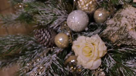 christmas ball gold : The Decorations Toys Christmas Tree Stock Footage