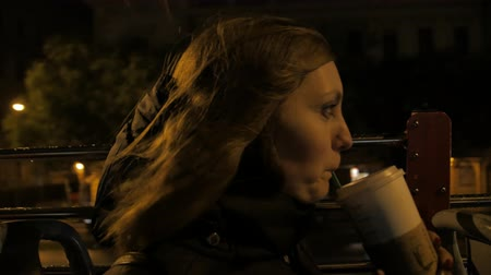 Girl Drinks Coffee At Night Stok Video