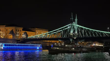 Tourist Boats And Night Bridge