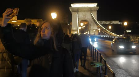 Girl Selfie On Night Bridge