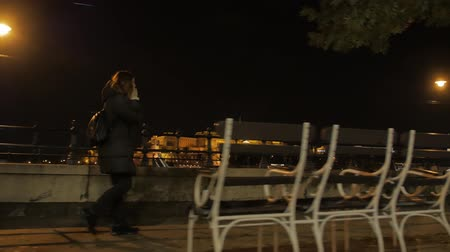 Girl Walk With Phone At Night