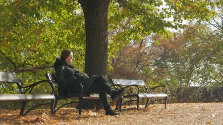 Girl Sits On Autumn Park Bench Stock Footage