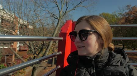 Girl On A Bus Tour Stock Footage