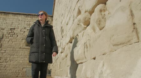 Girl Walk And Rock Architecture Stock Footage