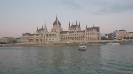 Hungarian Parliament Budapest Danube Stock Footage