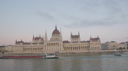 Hungarian Parliament In Budapest Stock Footage