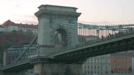 dockyard : Szechenyi Chain Bridge Budapest Timelapse Stock Footage