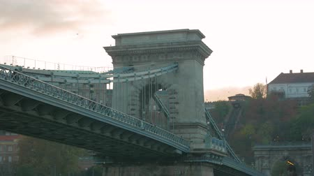 Szechenyi Chain Bridge in Budapest Stock Footage