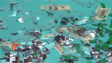 enflasyon : Dollars And Confetti Stok Video