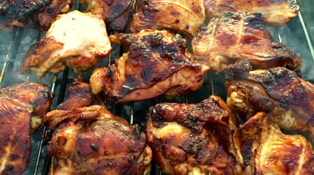 outing : Beautiful tasty food from slice grilled chicken meats, roast on metal brazier.
