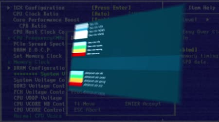 összeállít : The workflow of a hacker is displayed on an abstract computer monitor. Video can be used to show the process of infecting a computer virus. CG animation with ray of lights.