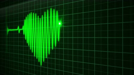 сетка : Abstract 3D animation of heart cardio monitor in the hospital that shows the heartbeat of a man who is feel love, version in green color, 4K UHD