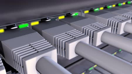 gigabit : 3D animation with RJ45 connectors plugged in to network switch. Status LEDs flashes on a network equipment and camera moves above the patchcords, seamless loop extreme close-up Stock Footage