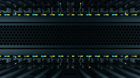 gigabit : Camera moves from the bottom to the top of the server rack. In a server rack installed many of the network switches with black patch cords. Status LEDs flashes on the front panels of a network equipment, loop