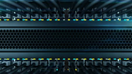 gigabit : Camera moves from the bottom to the top of the server rack. In a server rack installed many of the network switches with black internet wires. Status LEDs flashes on the front panels of a network equipment, loop