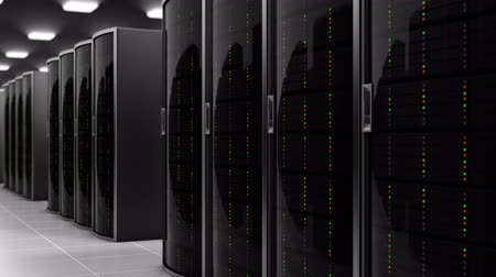 estação de trabalho : 3d animation of the server racks in a world wide dataceneter, concept of data store in the room of a globe hosting provider. All information is stored in datacenter, seamless loop Vídeos