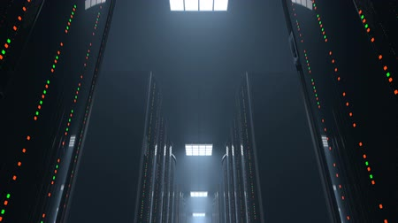 3d animation of a movement through a dark server room between server racks in world wide cloud dataceneter, concept of data store in the room of globe hosting provider, seamless loop
