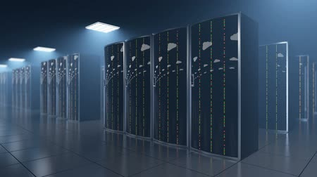 3d animation of a slowly movement of clouds reflection in the server racks in a dark server room in cloud datastore of a world wide hosting provider. All data is stored in cloud, seamless loop