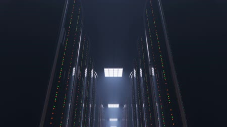 3d animation of a slowly movement through a dark server room between server racks in world wide cloud dataceneter, concept of data store in the room of globe hosting provider, seamless loop
