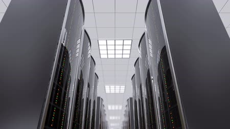 3d animation of a slowly movement through the server room between server racks in world wide cloud dataceneter, concept of data store in the room of globe hosting provider, seamless loop