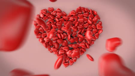 blank can : Beautiful 3d animation of a big heart made of little hearts without text. You can place any text in the foreground yourself. For example, congratulations on Valentines Day or wedding. Stock Footage