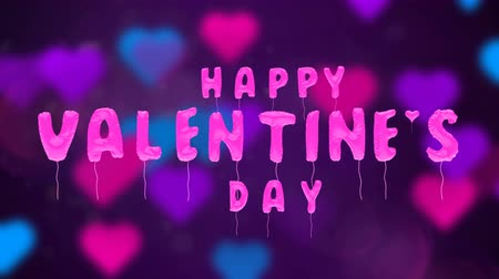 3d greeting card with wishes for valentines day from balloons on abstract background. Inflatable pink letters soar in the air. This animation can be used like intro for your video, seamless loop. Stok Video
