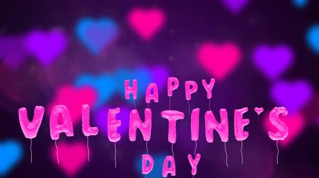 3d greeting card with wishes for valentines day from balloons fly up on abstract background. Inflatable pink letters fly in air. This animation can be used like intro for your video, seamless loop.