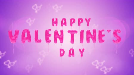 3d greeting card with wishes for valentines day from balloons on purple background. Inflatable pink letters soar in the air. This animation can be used like intro for your video, seamless loop.