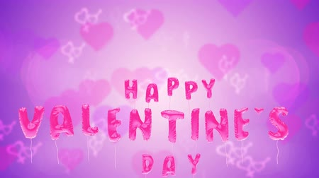 3d greeting card with wishes for valentines day from balloons fly up on purple background. Inflatable pink letters fly in air. This animation can be used like intro for your video, seamless loop.