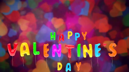 proposing : 3d greeting card with wishes for valentines day from multicolored balloons fly up on colorful background. Inflatable vivid letters. Animation can be used like intro for your video, seamless loop.