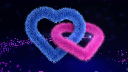 peluş : 3D animation of the union gender hearts soaring on an magic background and bright comet of love flies on their background. Footage for some intro to your celebrating videos, seamless loop
