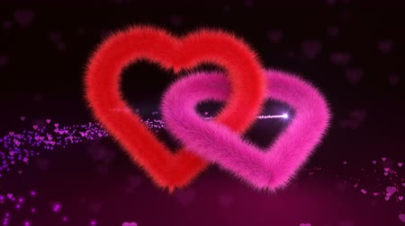 bez szwu : 3D animation of red and pink hearts hovering on an abstract background and bright comet of love flies on the background of plush hearts. Footage for intro to your celebrating videos, seamless loop