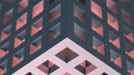 Beautiful seamless loop 3D animation of an abstract gray-blue cubic puzzle with red light inside, background