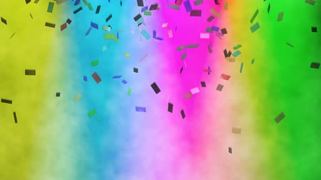 Abstract cg animation of multicolored confetti which falling against the colorful spotlights. Many-colored spot lights shines on stage, paper petard confetti and colors their in various colors, loop