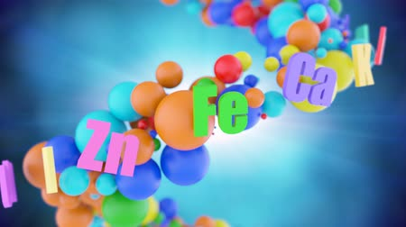 suplemento : The movement lattice of colorful trace elements, vitamins and microelements symbolizes the concept of a healthy lifestyle. Vitamins and nutrient supplements helps keep immunity, health and long life. Stock Footage