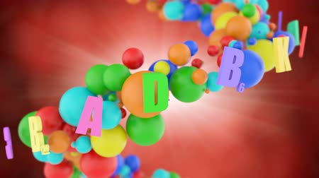 nutritional supplement : Vitamin complex and minerals for a healthy human body and strengthening of immunity. Symbols of vital vitamins A B C D E and B12 form a colored lattice from colorful supplements and nutrients. Stock Footage