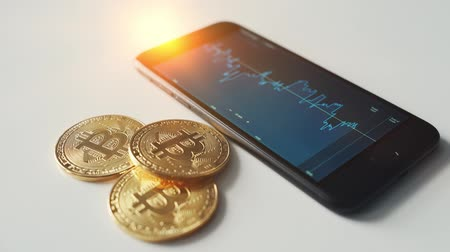btc bitcoin with stock market on smartphone