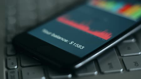 digits of account balance on the smartphone screen Wideo