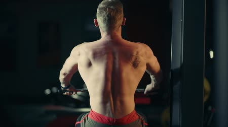 A muscular man performs exercises on the back muscles in a dark gym, lifting weights Wideo