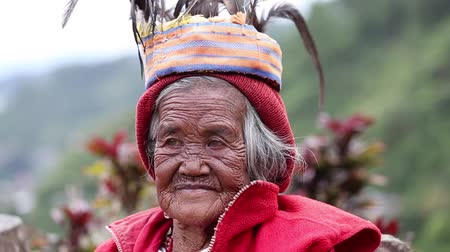 hill tribe : BANAUE, PHILIPPINES - JANUARY 24, 2014 : Unknown old ifugao woman in national dress next to rice terraces. Ifugao - the people in the Philippines. Refers to the mountain peoples. Stock Footage