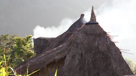 dağ evi : Smoke from a thatched roof in Batad,, northern Luzon, Ifugao province Philippines., next to the rice terraces.