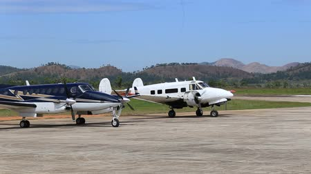 aerodrome : BUSUANGA, PHILIPPINES - FEBRUARY 08, 2014 : Airplane in Busuanga airport in island Coron.
