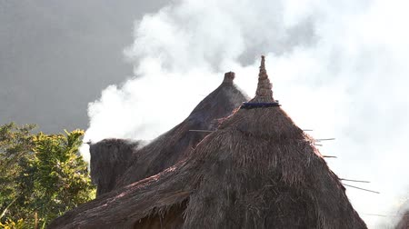 plantio : Smoke from a thatched roof in Batad,, northern Luzon, Ifugao province Philippines., next to the rice terraces.