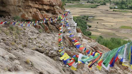 modlitba : Plenty of colorful Buddhist prayer flags on the Stupa near Takthok gompa, Buddhist monastery in Ladakh, Jammu & Kashmir, India Dostupné videozáznamy