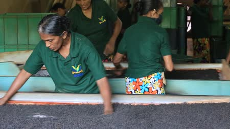 black tea : NUWARA ELIYA, SRI LANKA - NOVEMBER 10, 2014: Unidentified Sri Lankan women are engaged in the oxidation and drying tea leaves in tea factory