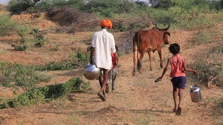 fetch : PUSHKAR, INDIA - OCTOBER 27, 2014 :Unidentified young boys and man go to fetch water in the desert near Pushkar Camel Mela (Pushkar Camel Fair) This fair is the largest camel trading fair in the world