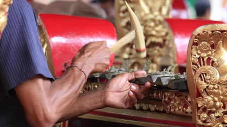 indonesia : Video 1920x1080 - Traditional balinese gamelan music instrument. Bali island, Ubud, Indonesia Stock Footage