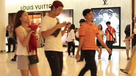 lojas : BANGKOK, THAILAND - FEBRUARY 13, 2016: Unidentified people walking near the Louis Vuitton store in Siam Paragon Mall. With 300,000 sqm of retail space Siam Paragon is one of the worlds largest malls