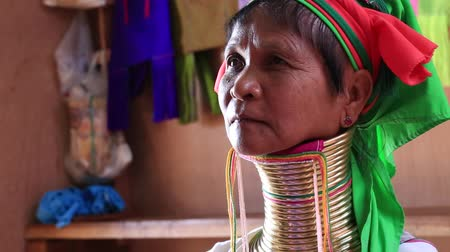 long neck karen : INLE LAKE, MYANMAR - JANUARY 14, 2016: Padaung Tribal woman poses for a photo in Inle lake, Myanmar, Burma. The Padaung-Karen long-necked tribe women are minority of Myanmar
